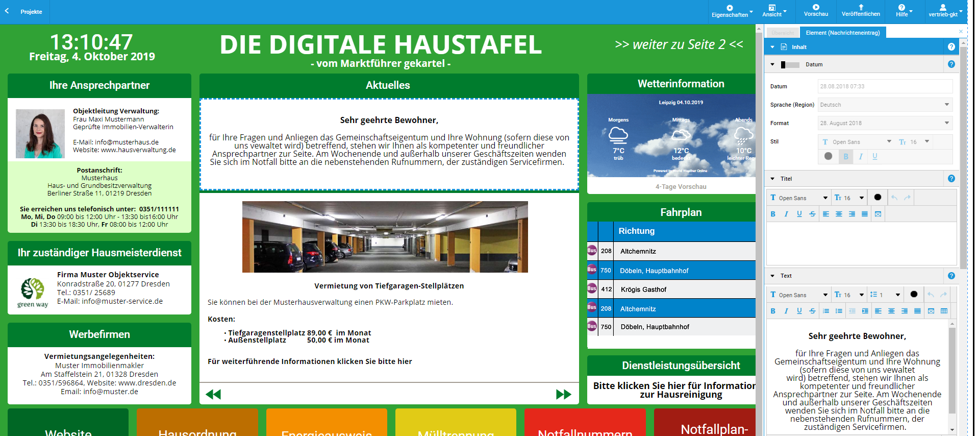 Screenshot Content Management System der Digitalen Haustafel